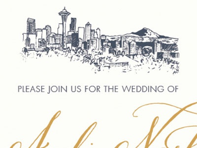 Seattle Skyline Illustration for Wedding Invitations