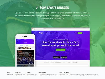 Sqor Sports - Portfolio Case Study sports case study portfolio