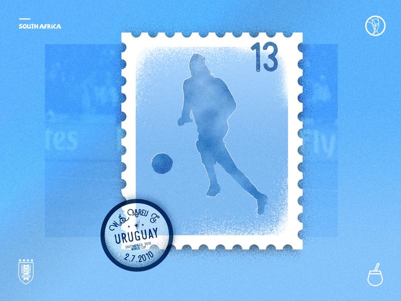 Sello de la casa stamp panenka world cup football soccer player noise grain southafrica uruguay abreu