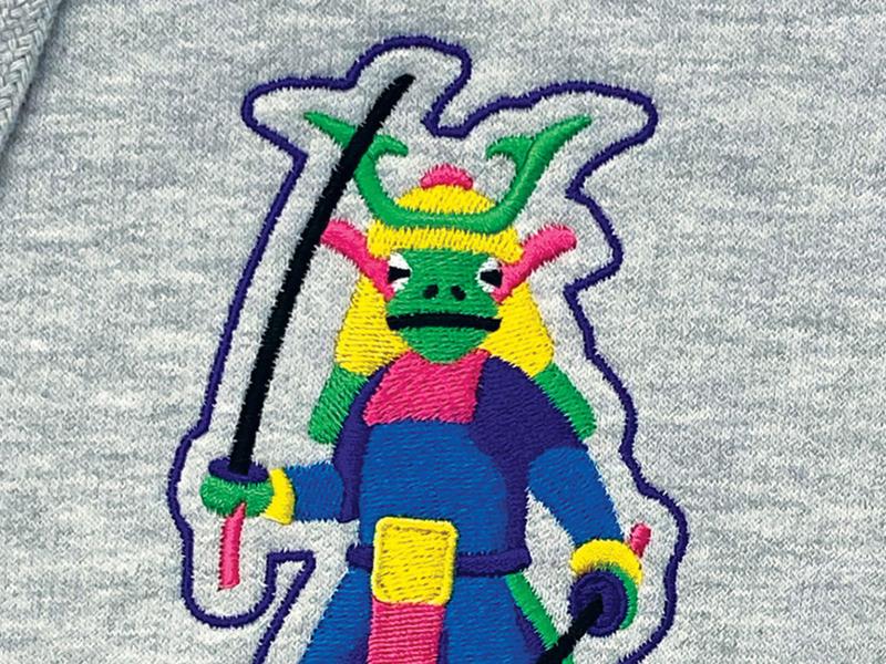 Frog Samurai embroidery samurai frog