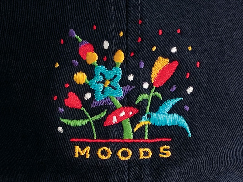 MOODS Cap primavera embroidery bird flower spring