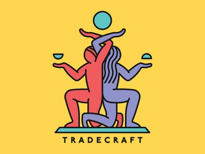 Tradecraft Logo balance kneel logo commerce craft trade