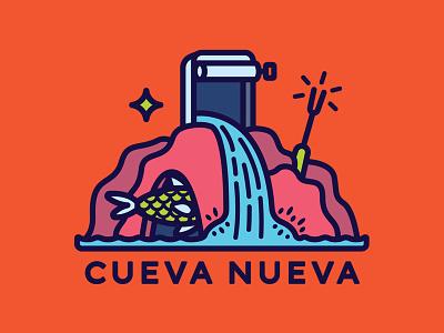Cueva Nueva star waterfall conservas cave fish logo seafood