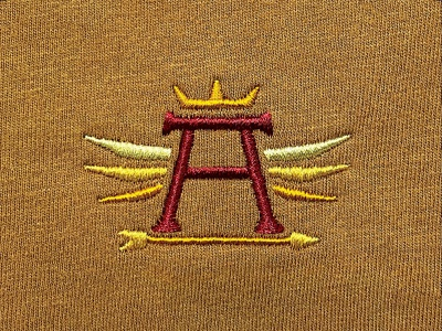 illuminated initial embroidery wings arrow crown king mongram initials illuminated