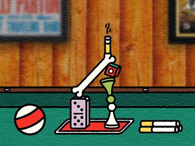 bravo assemblage sculpture structure smoke bone chalk pawn cigarette billiards pool bar