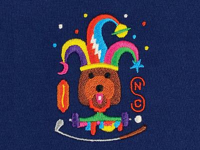 bennett's crest thread crest jester embroidery doggy dog