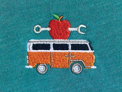 apple bus merch embroidery instructor teacher volkswagen vw bus hippie mechanic wrench apple