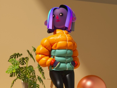 Jacket character illustration marvelous designer c4d 3d
