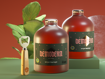 Demodern Beers beer illustration c4d 3d