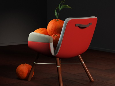Mandarinas lighting chair illustration octane c4d 3d