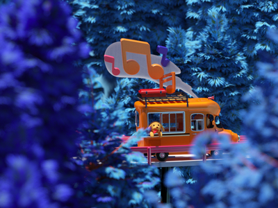 Camper in the Woods illustration cgi 3d forest woods trees music sing dog car campervan character octane c4d