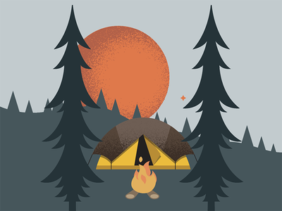 Camping woods forest vector texture camping illustration