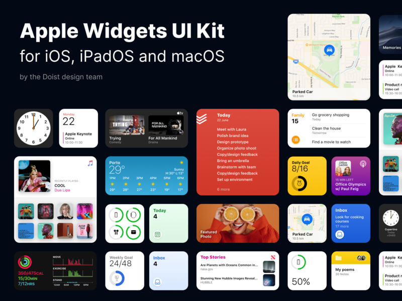 Apple Widgets UI Kit for Figma macos ipados widgets mockup file community figma ui kit ios 14 apple todoist iphone ui ios