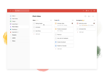 Todoist Boards – Drag tasks (Web) board kanban project real live app icon todoist task management todo productivity