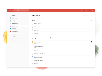 Todoist Boards – View Switch (Web) board kanban project real live app icon todoist task management todo productivity