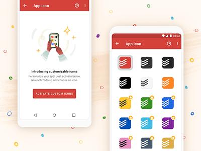 Custom app icons in Todoist ✨ design branding android customizable settings tasks todoist todo task manager app ui