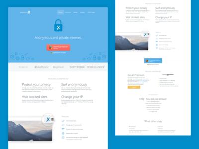 anonymoX Landingpages