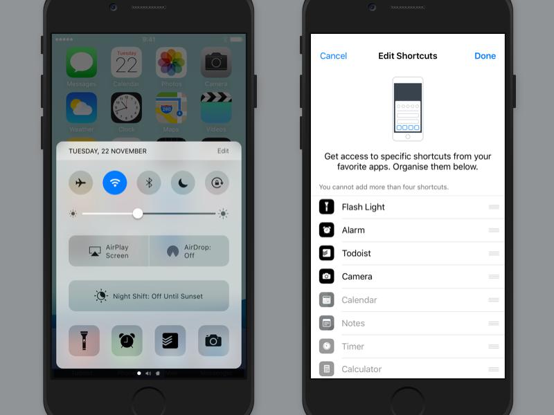 iOS 10 Control Center: App Shortcuts mobile idea iphone ios 10 apple