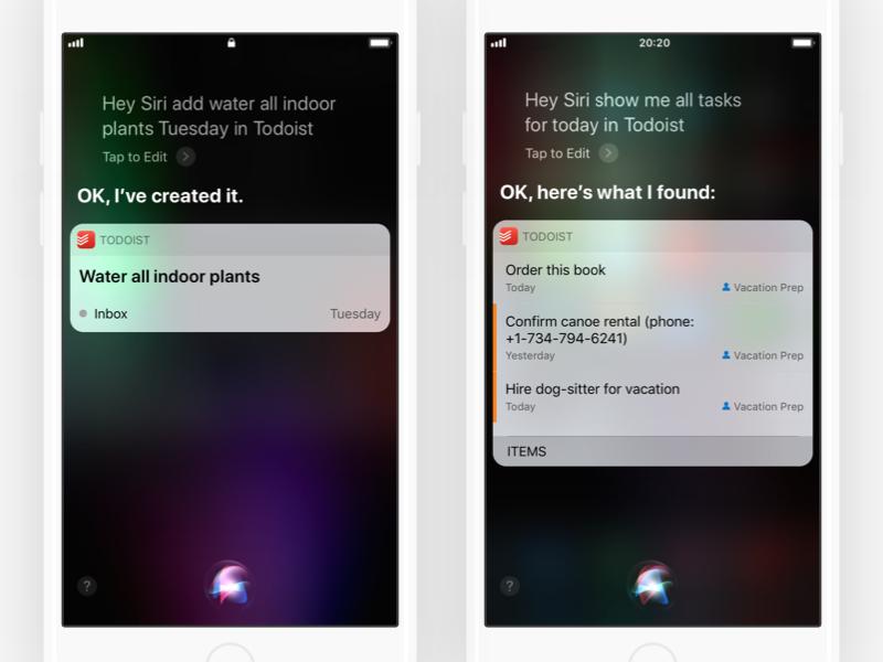 Todoist + Siri siri app todoist task manager todo ios 11