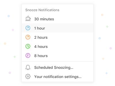 Snooze notifications in Twist real project menu dropdown settings schedule set icon communication asynchronous desktop