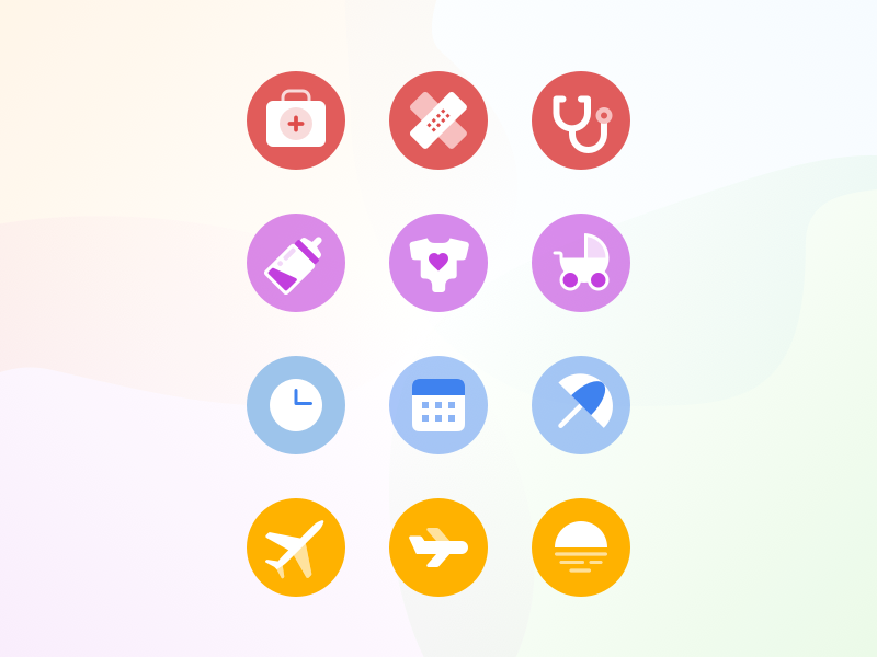 Time off icons exploration away status out of office exploration icon set communication team twist