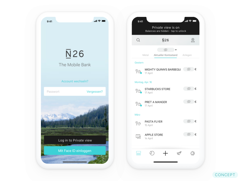 N26 privacy mode
