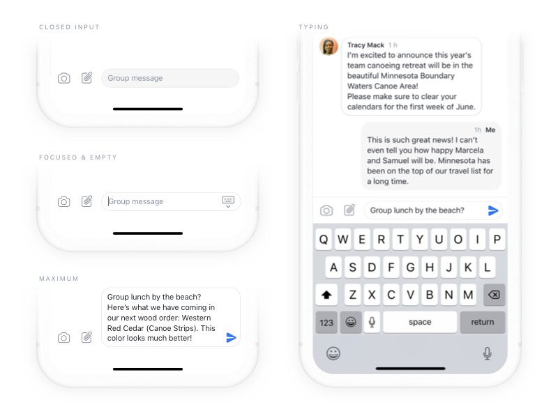 Messages Input in Twist input messages android ios real project design team communication