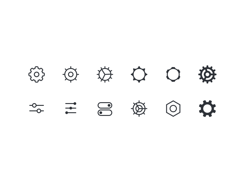 Diverse Settings Icons ⚙️ set switch gear icon settings