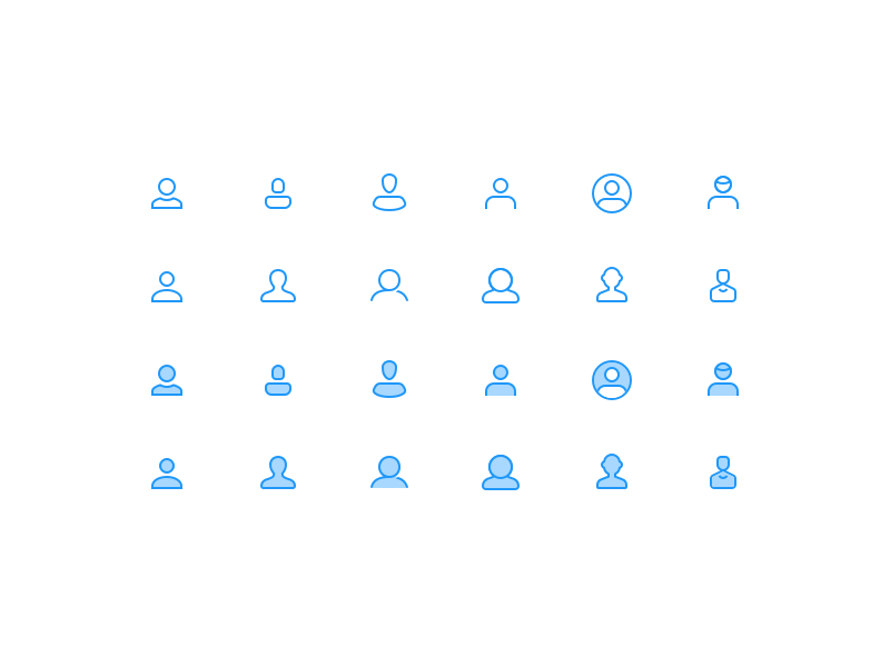 Diverse User Icons 👤 user member filled outline practice diversity set icon