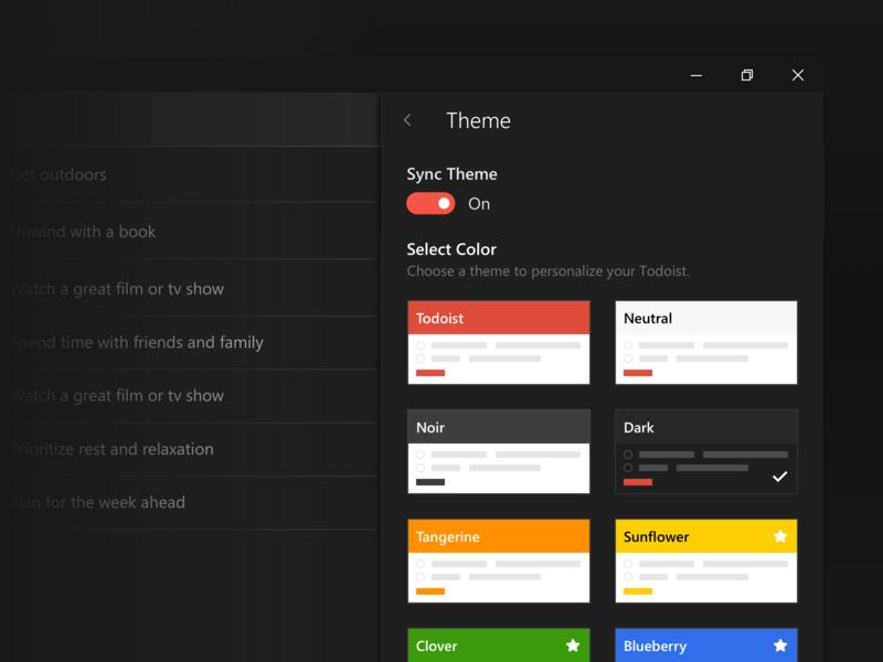 Todoist Theme Picker ui app todo task windows android iphone ios