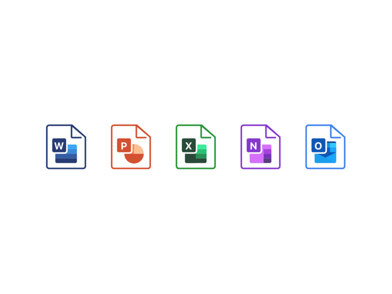 File Icons: Exploration outlook onenote excel powerpoint microsoft word files attachment icons