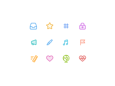Category icons exploration exploration twist categories icon vector app ui