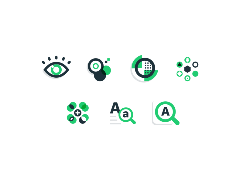 Accessibility & Inclusion blue green zoom readability variety magnifying glass contrast eye inclusion accessibility ui icons