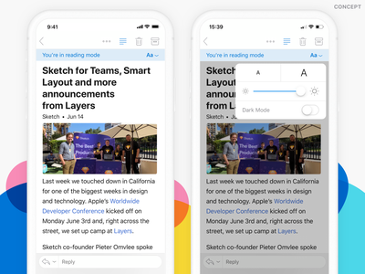 Email Reading Mode - Concept outlook ios light dark mode reading email concept ui