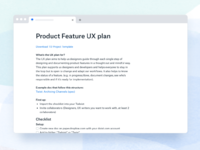 Product feature ux plan