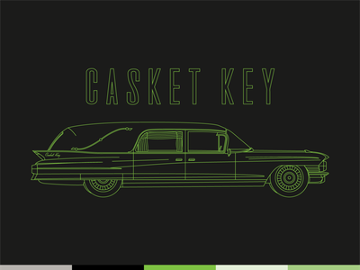 Casket Key — Hearse metal band neon retro modern sixties landau eureka 1961 illustration monoline hearse garage spokane brand band key casket