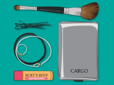 myEssentials_four makeup brush ring bracelet chapstick vector illustration thingsorganizedneatly essentials bobby pins burts bees things organized neatly