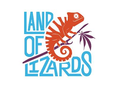 Land Of Lizards land of lizards branding logo lettering marijuana chameleon lizard