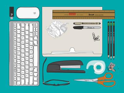 Office Items Organized Neatly glasses sharpener tape office stapler scissors things organized neatly illustration vector