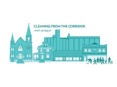 CFTC sprague scape illustration church building streetscape community clean sweep branding washington sprague spokane