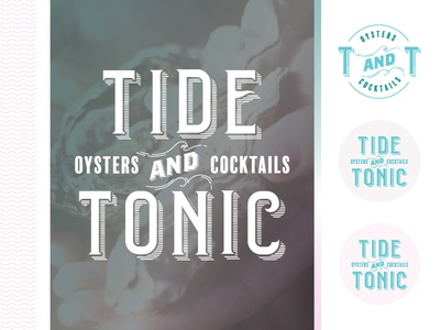 Tide And Tonic — RIP pink teal logo sea branding waves ocean seafood cocktails oyster tonic tide