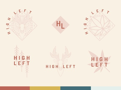 High Left—Alternatives elk weed compass northwest logo brand pnw washington wa monoline marijuana illustration