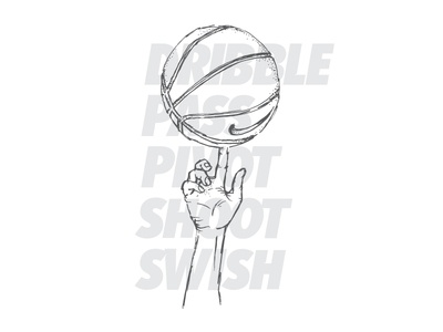 Bball swish shoot pivot pass dribble spin ball sketch illustration hoopfest spokane basketball
