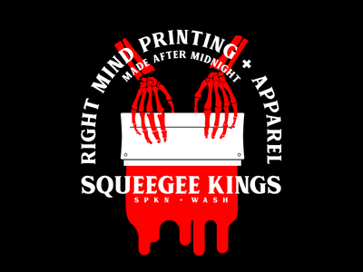 RMP Squeegee Kings badge spokane squeegee skeletal illustration identity brand screen printing printing apparel right mind