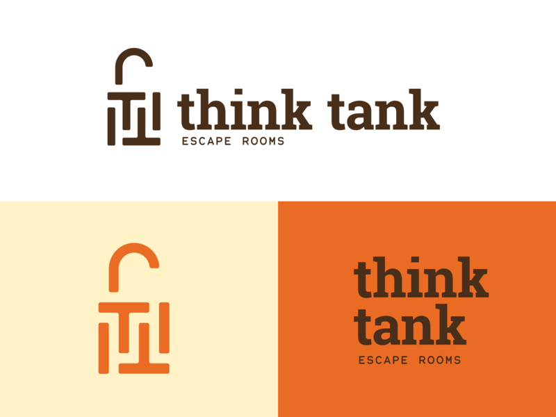 Think Tank Brand Concept — RIP spokane logo unlock maze branding padlock lock monogram tt room escape tank think