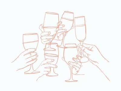 Cheers — Monoline Montage champagne glasses wine cheers overlay illustration monoline