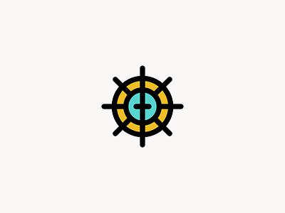 Sun. Sail. Saved.  wheel ship beach sun cross line sail church logo logo design identity branding logo