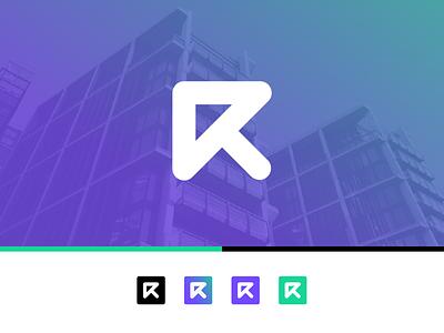 Letter R + Arrow Logo rent upward letter r arrow r logo logo logo design identity branding