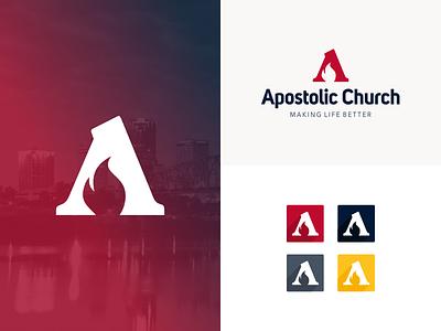 Apostolic Church Logo arkansas apostle holy spirit pentecost fire flame letter a church logo logo design identity branding logo