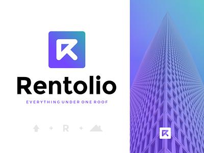 Rentolio - Startup Brand arrow tenant home startup rent letter r logo design identity branding logo